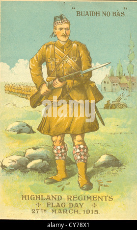 Charity fund raising postcard for Highland Regiments Flag Day - Stock Photo