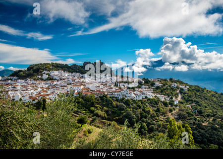 Panoramic view of the andalusian white town of Gaucin, province of Malaga, Andalusia, Spain - Stock Photo