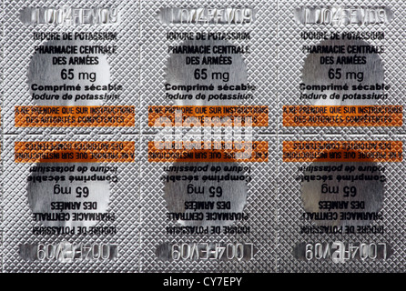 Iodine Tablets for use in case of nuclear incident, near Penly, Normandy, France - Stock Photo