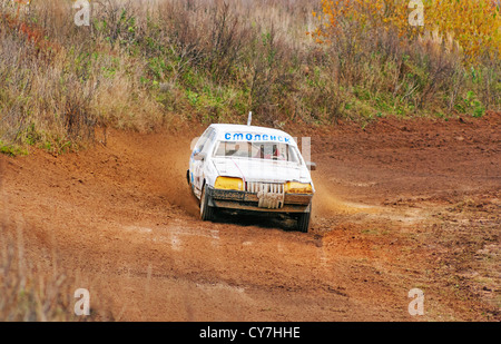 Racing car from Smolensk ( Russia) on racing road. - Stock Photo