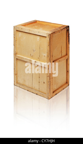 Old wooden crate isolated on white with reflection. - Stock Photo