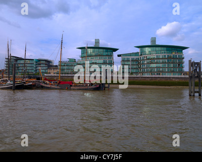 View of Hermitage Wharf and Moorings River Thames, London United Kingdom. - Stock Photo