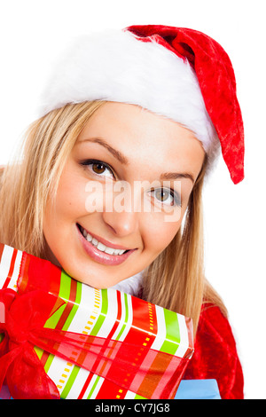 Close up of young beautiful blond happy smiling woman in Santa costume, isolated on white background. - Stock Photo