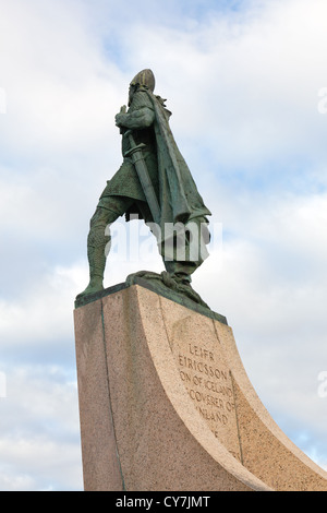 The statue of Leif Ericsson in Reykjavik in Iceland - Stock Photo
