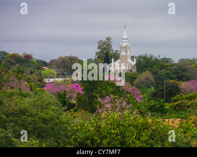 A distant view of the Nuestra Señora de la Candelaria church in Areguá, Paraguay, South America. - Stock Photo