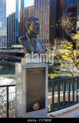 Bust of Jean-Baptiste Pointe DuSable, founder of Chicago. Pioneer Court, Michigan Avenue. Erik Biome sculptor. - Stock Photo