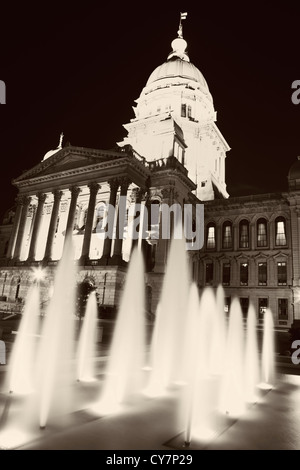 Fountain in front of State Capitol Building in Springfield - Stock Photo