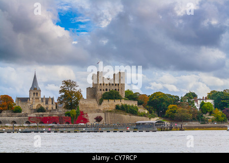 UK England Kent Rochester autumn scene to Castle Cathedral and old historic buildings viewed across River Medway. - Stock Photo