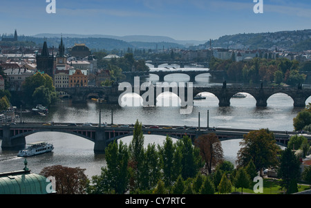 The historic Charles Bridge over the Vitava River in Prague, Czech Republic - Stock Photo