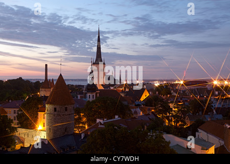 Panoramic view of Tallinn old city center. Estonia - Stock Photo