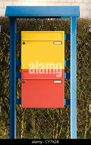 Colorful mailboxes in Germany - Stock Photo
