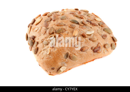 Pumpkin seeded bread roll isolated on white - Stock Photo