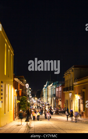 Night view of the pedestrian mall Alcala in the historical center of Oaxaca, Mexico. - Stock Photo