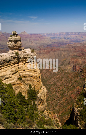 Scenic view of layered rocks along the South Rim, Grand Canyon National Park, Arizona - Stock Photo