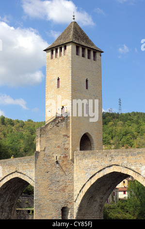 Gothic Pont Valentre on the River Lot Cahors Valentre Bridge - Stock Photo