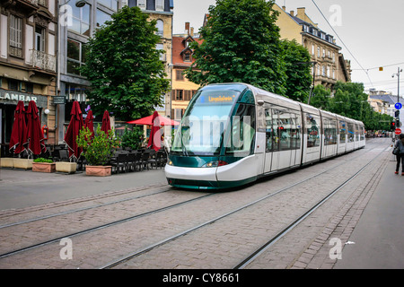 Modern trams in the city of Strasbourg in France - Stock Photo