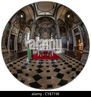 180 degree circular fisheye view of the interior of the Chiesa di San Zaccaria in Venice - Stock Photo