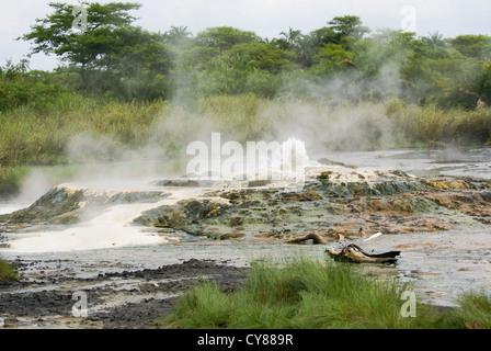 Semuliki National Park in western Uganda Sulphur reach Sempaya hot springs - Stock Photo