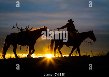 Cowboy and his horse at sunrise on a ranch in northweastern Wyoming - Stock Photo