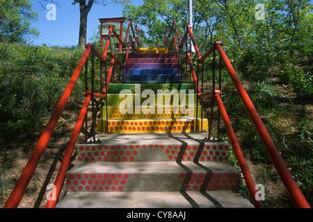 A colorful public stairway in Cincinnati's Krohn Conservatory in Eden Park. - Stock Photo