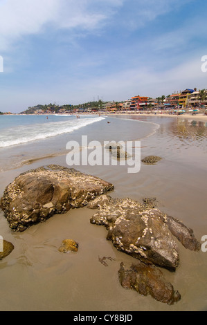Vertical landscape across Lighthouse beach in Kovalam, India. - Stock Photo
