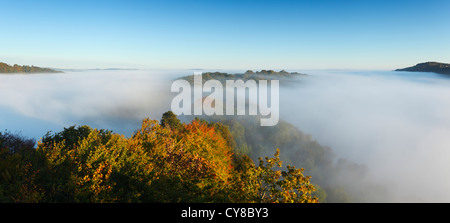 Mist in the Wye Valley at Symonds Yat. Herefordshire. England. UK. - Stock Photo