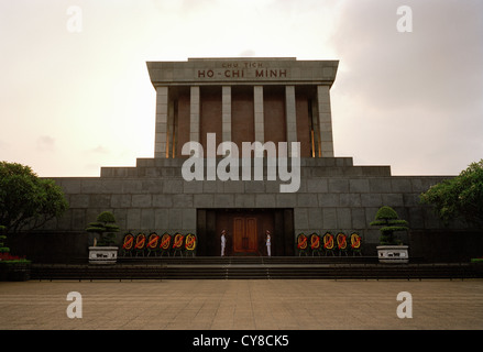 Ho Chi Minh mausoleum Guard Of Honour in Ba Dinh Square in Hanoi in Vietnam in Far East Southeast Asia. History - Stock Photo