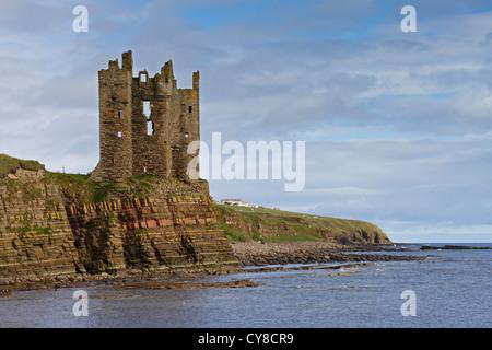 Keiss Castle on Caithness coast - Stock Photo