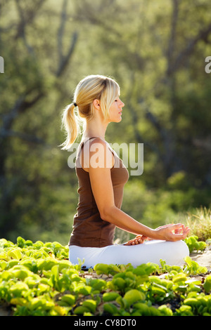 Attractive, healthy woman practices yoga at Makena, Maui, Hawaii. - Stock Photo