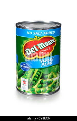 Peas, Can of Sweet Peas, Tinned Peas, Canned Peas - Stock Photo