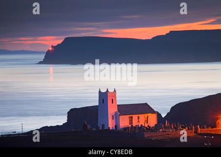 Ballintoy Church captured at Dawn. Co Antrim, Northern Ireland. - Stock Photo
