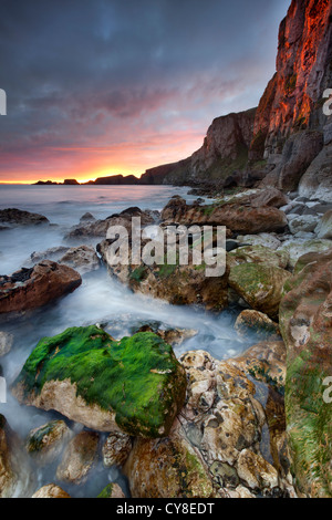Larrybane on the antrim captured at sunrise. northern Ireland. - Stock Photo