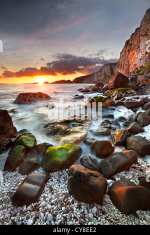 Larrybane on the antrim coast captured at sunrise. Northern Ireland. - Stock Photo