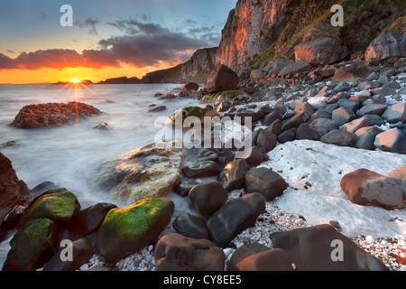 Larrybane on the antrim coast captured at sunrise. Northern Ireland.