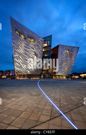 Night shot of Titanic Belfast visitor centre, Northern Ireland. - Stock Photo