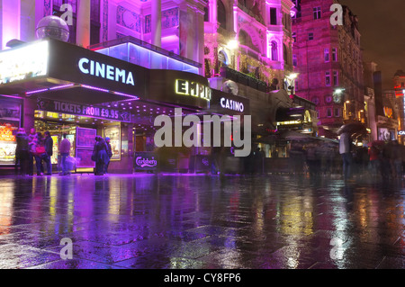 Empire Cinema Casino with people gathered outside in Leicester square, London - Stock Photo