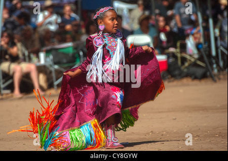 Chumash native American girl dancing - Stock Photo