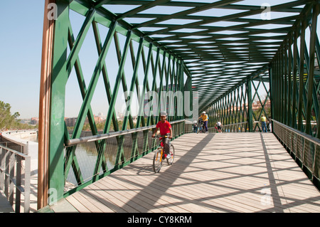 Y footbridge. Madrid Rio park, Madrid, Spain. - Stock Photo
