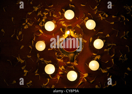 Decorative lamps on festive occasion of Diwali - Stock Photo