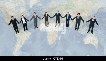 International trade creates global village valuing cooperation and unity over division - Stock Photo