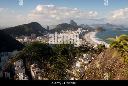 View over Copacabana from Morro do Cantagalo Rio de Janeiro Brazil - Stock Photo