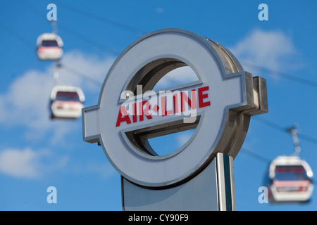 Emirates Air Line sign outside cable car station North Greenwich - Stock Photo