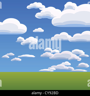 summer landscape with heavenly clouds against the blue bright sky