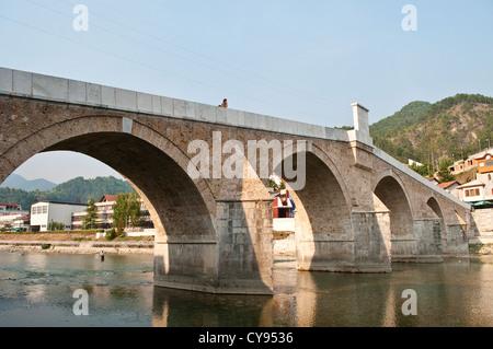 Ottoman bridge over River Neretva in the town of Konjic, Bosnia and Herzegovina - Stock Photo