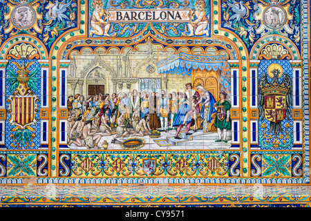 Tiled province alcove of Barcelona along the walls of the Plaza de España, Seville, Andalusia, Spain - Stock Photo