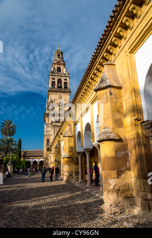 View over Torre del Alminar belfry, Mezquita Cathedral, Cordoba, Andalusia, Spain - Stock Photo