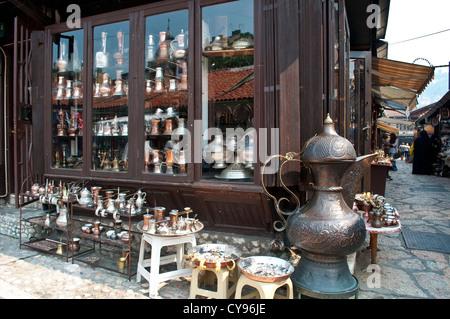 Bascarsija shops, Sarajevo, Bosnia and Herzegovina - Stock Photo