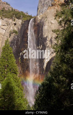 Bridalveil Falls fed by Bridalveil Creek (188 metres, 617 feet high) which flows year round, with a rainbow formed - Stock Photo