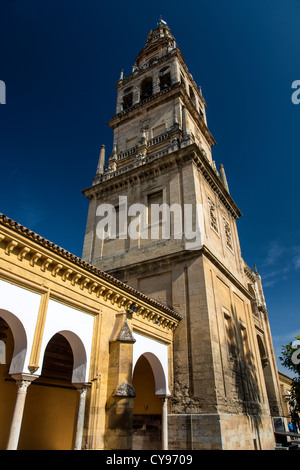 The Torre del Alminar belfry, Mezquita Cathedral, Cordoba, Andalusia, Spain - Stock Photo