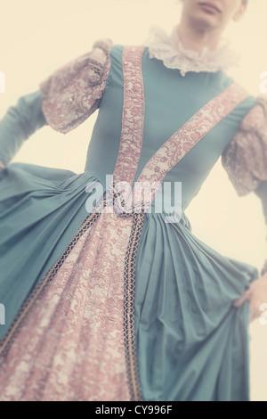young, beautiful woman in a renaissance dress - Stock Photo